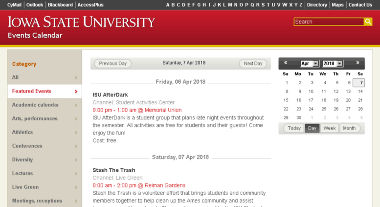 Isu Academic Calendar.Access Event Iastate Edu Events Events Calendar Iowa State