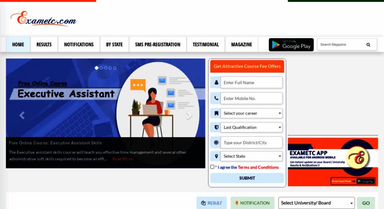 Access exametc com  Check examination results of Board & University
