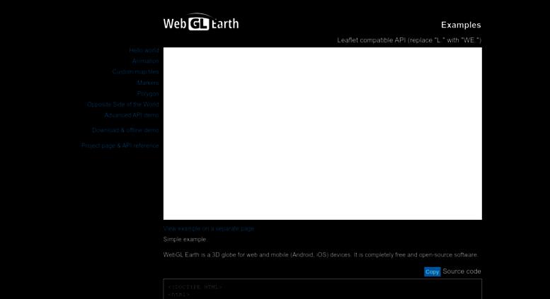Access examples webglearth com  WebGL Earth API examples