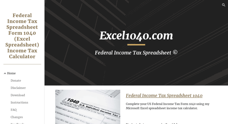 Access excel1040 com  Federal Income Tax Form 1040 (Excel