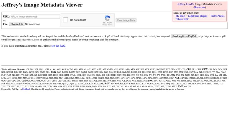 Access exif regex info  Jeffrey Friedl's Image Metadata Viewer