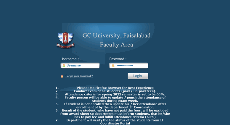Access faculty gcuf edu pk  Faculty Portal - GCUF