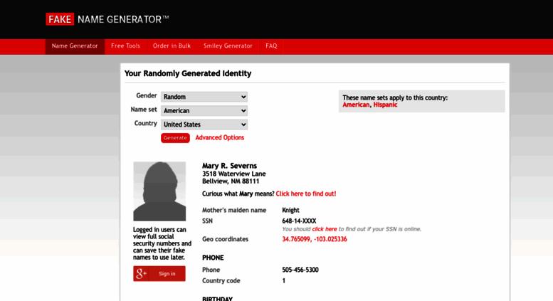 Access fakenamegenerator com  Generate a Random Name - Fake