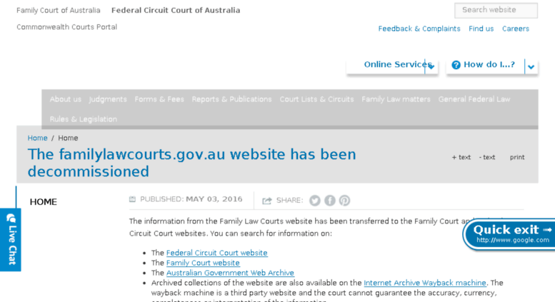 Access familylawcourts gov au  The familylawcourts gov au