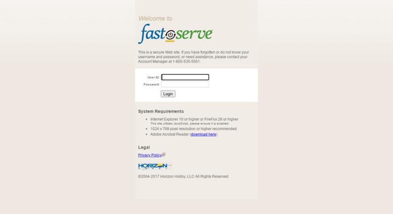 Access fastserve horizonhobby com  Fast Serve Web - Login
