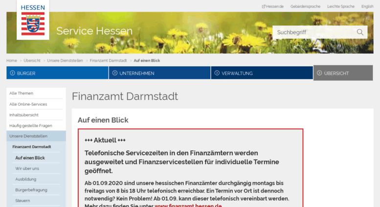 Access Finanzamt Darmstadt Hessen De Auf Einen Blick Service Hessen