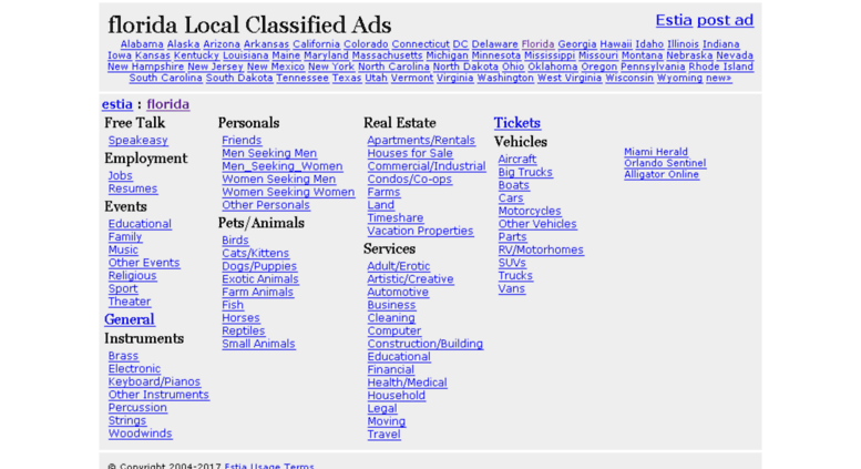 Access florida estia com  Local Classified Ads - Estia florida