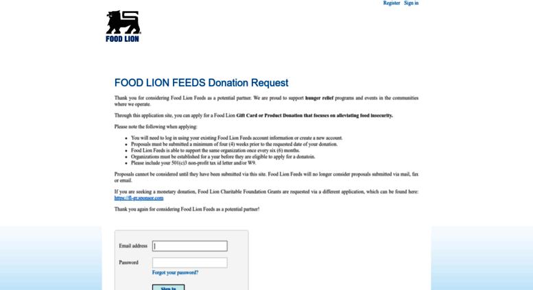 Access Foodlionsponsorcom Sponsorium Proposal Request Form