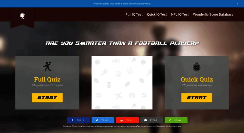 Access footballiqscore com  Test Your Wonderlic Score vs  Football