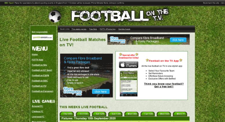 Access footballonthetv co uk  Live Football on the TV - Live