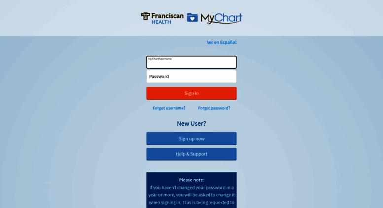 Franciscanmychart Org Screenshot
