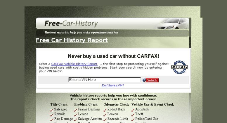Free Car History Report >> Access Free Car History Com Contact Support
