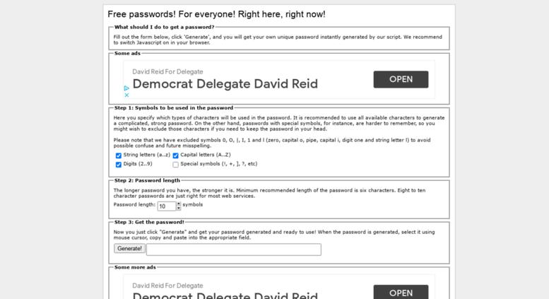 Access freepasswordgenerator com  Free Password Generator - Generate