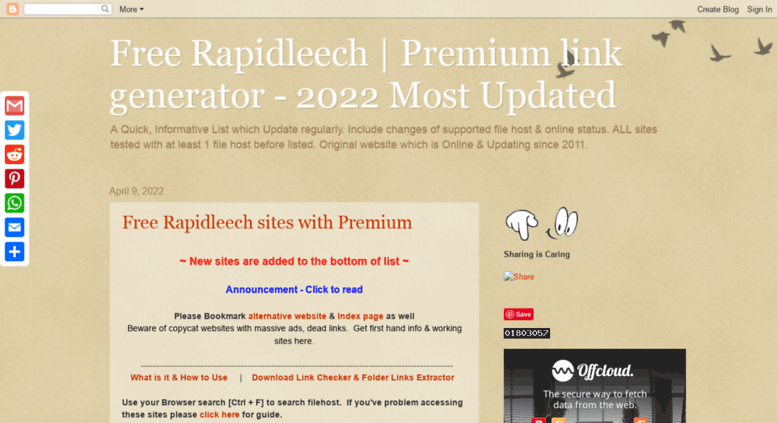 Access freerapidleechlist blogspot fr  Free Rapidleech
