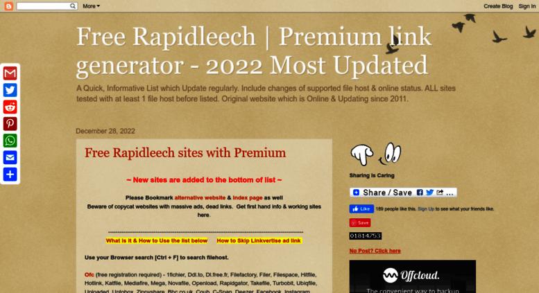 Access freerapidleechlist blogspot it  Free Rapidleech | Premium