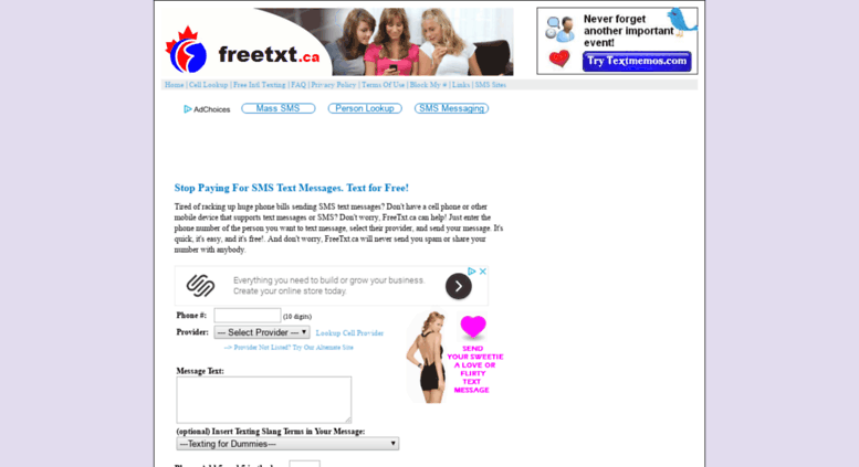 Access freetxt ca  Send Free Text Messages - Email to SMS Gateway