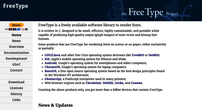 Access freetype org  The FreeType Project