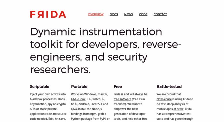 Access frida re  Frida • A world-class dynamic instrumentation