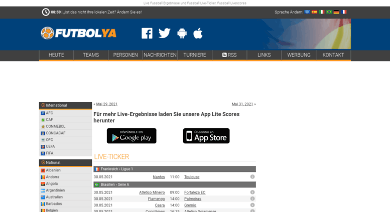 Access Fussball24 Com Live Fussball Ergebnisse Livescores Und