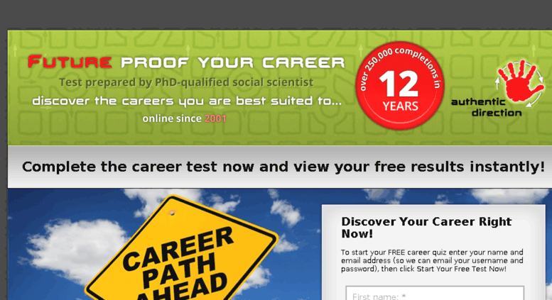 Access futureproofyourcareer com  Career test/career quiz to