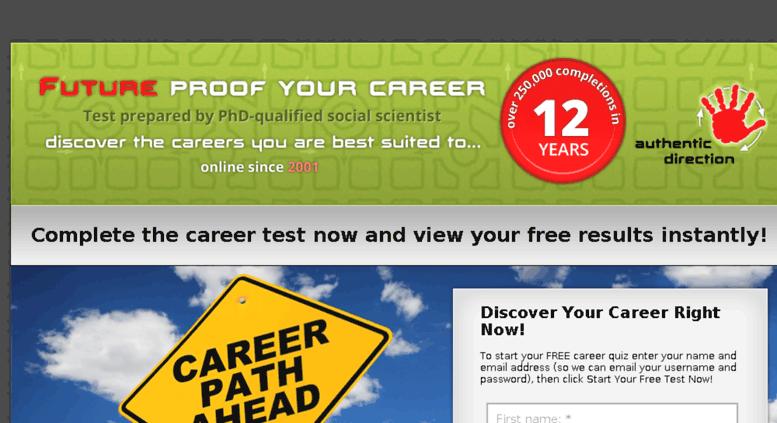 Access futureproofyourcareer com  Career test/career quiz to define
