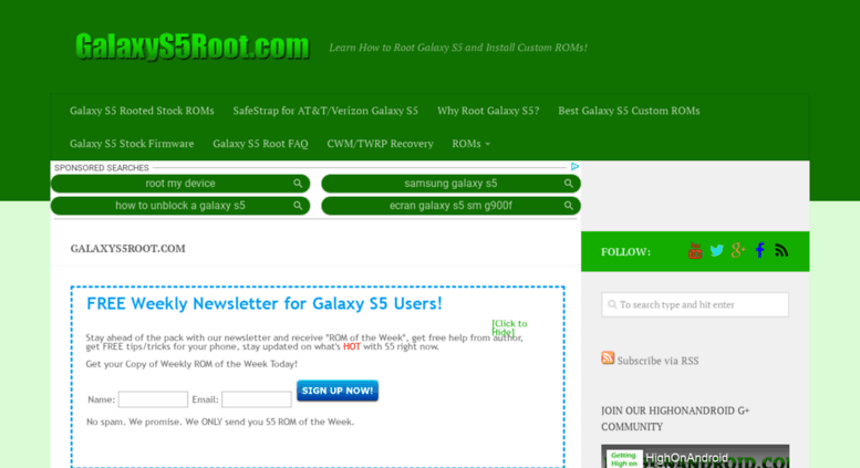 Access galaxys5root com  GalaxyS5Root com - Learn How to