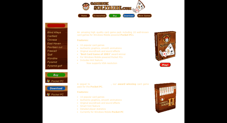 Access gameboxsolitaire com  Solitaire games for Pocket PC