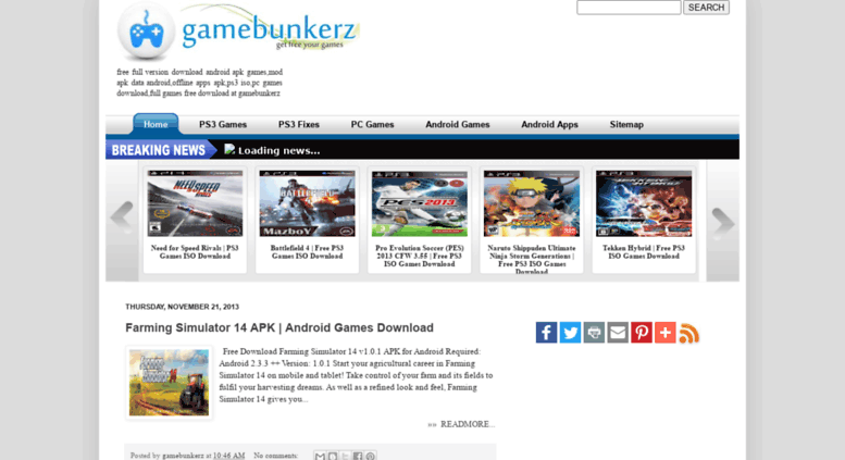 Access gamebunkerz blogspot in  APK Data Android Games Free Download