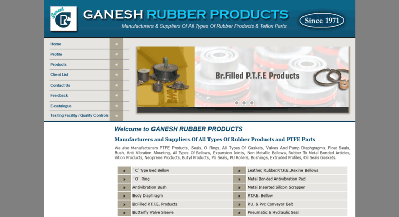 Access ganeshrubber net  Rubber Products, Rubber Parts, Ptfe