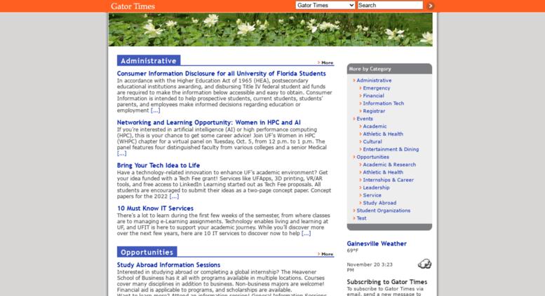 Access gatortimes ufl edu  Gator Times