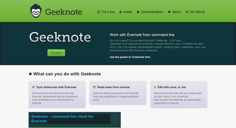 Access geeknote me  Geeknote - Evernote console client for