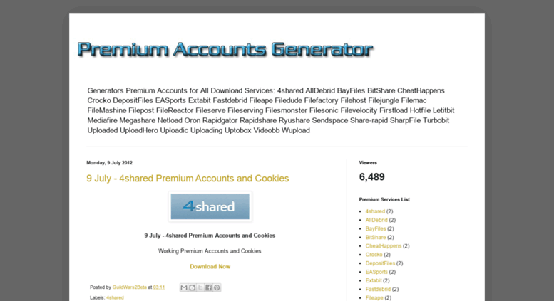 Rapidshare premium generator blogspot - puzzpenslookstens's blog