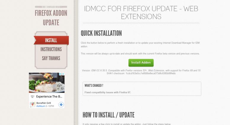 Access getidmcc com  IDMcc for Firefox Update - IDMcc for