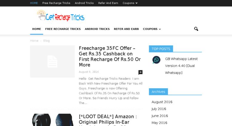 Access getrechargetricks com  Get Recharge Tricks - Free