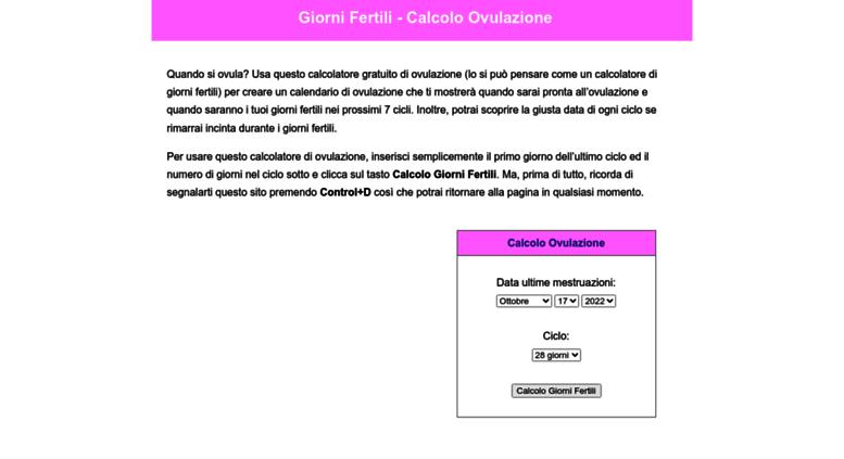 Calendario Ovulazione Giorni Fertili.Access Giornifertili Net Giorni Fertili Calcolo Ovulazione