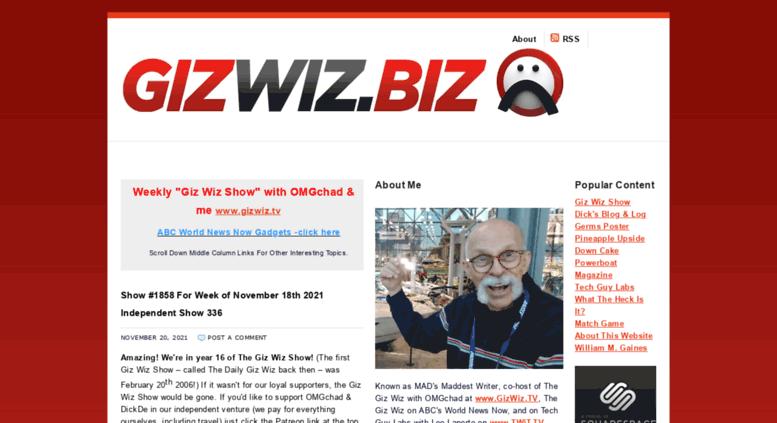 Access gizwizbiz com  GIZ WIZ BIZ - all about Gizmos & Gadgets!