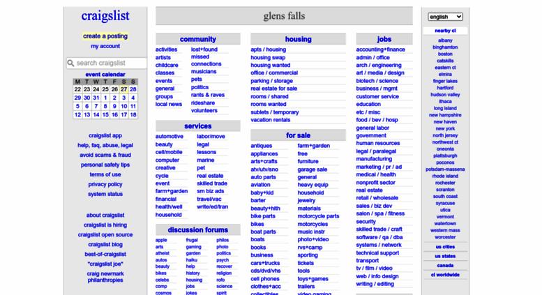 Access Glensfalls Craigslist Org Craigslist Glens Falls Ny Jobs