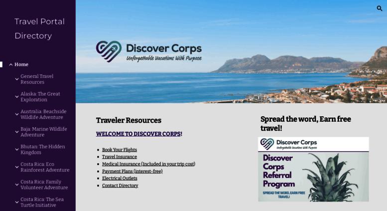 Access go discovercorps com  Travel Portal Directory