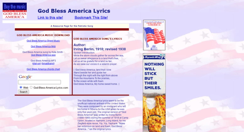 Access god-bless-america-lyrics com  God Bless America lyrics, song