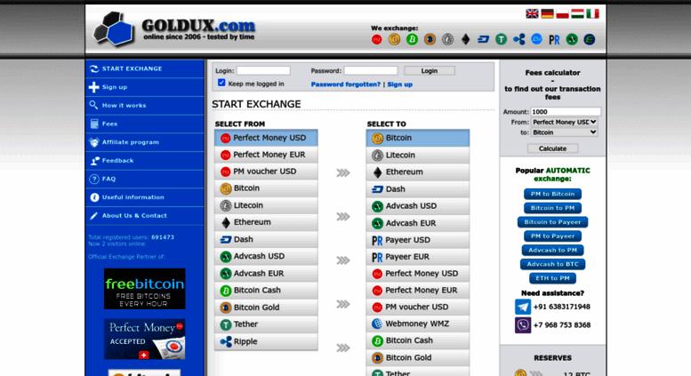 Access goldux com  GOLDUX - exchange Perfect Money, Bitcoins