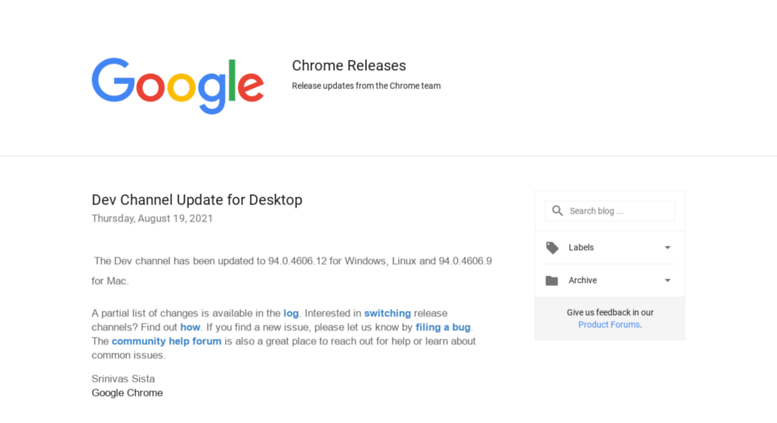 Access googlechromereleases blogspot co uk  Chrome Releases