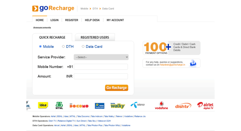 Access gorecharge in  GoRecharge Online Prepaid Mobile