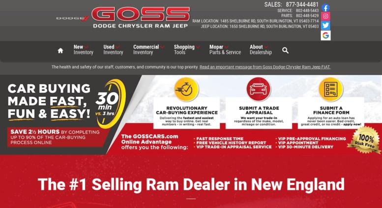 Access Gossdodgechrysler Com Car Dealership South Burlington Vt