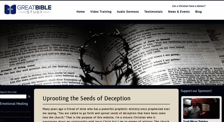 Access greatbiblestudy com  Spiritual warfare, deliverance