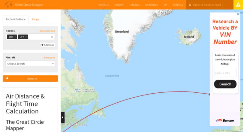 Access greatcirclemapper.net. Flight Distance and Duration ...