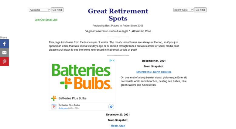 Access greatretirementspots com  Best Places to Retire