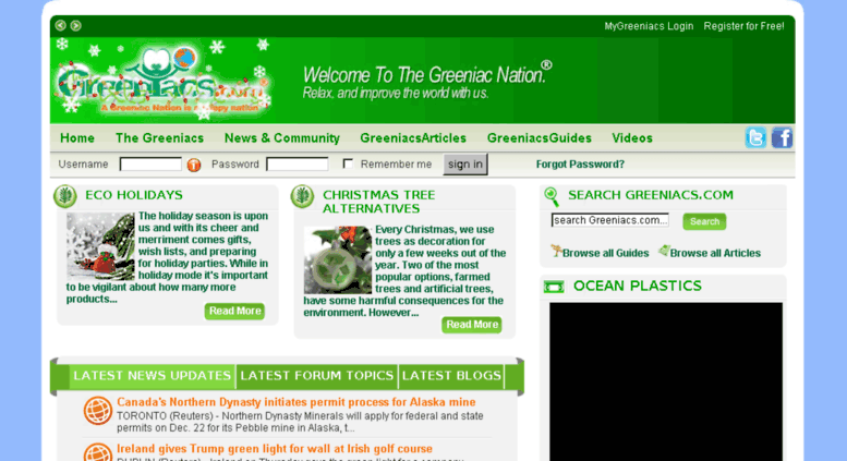 Access greeniacs com  Greeniacs com - Think Green with Eco