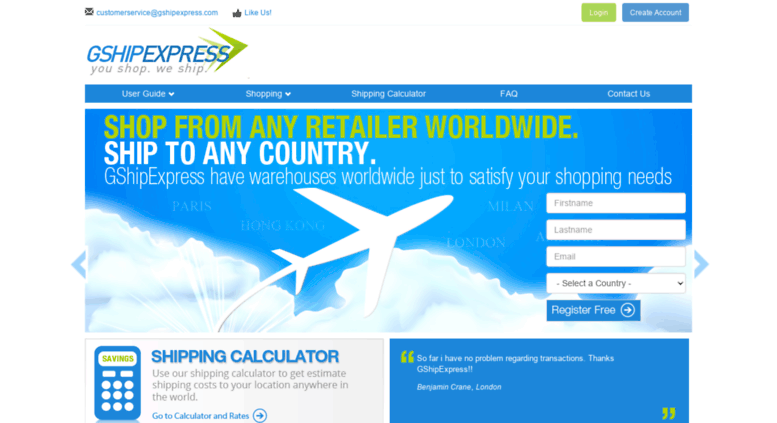 Access gshipexpress com  You Shop, We Ship  Start your