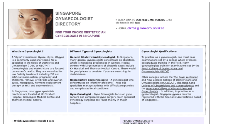 Access gynaecologist sg  Gynecologist Singapore : Find Gynecologists