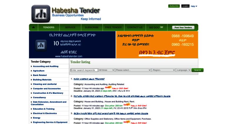 Access habeshatender com  Habesha Tender Online Ethiopian